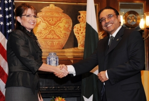 Alaska Gov. Sarah Palin meets Pakistan's President Asif Ali Zardari on Wednesday in New York.