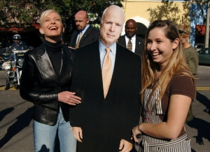 Sensing the campaign is sinking with 10 days before the election, the Republicans have replaced John McCain with what they hope is a superior candidate, a cardboard cutout of McCain.