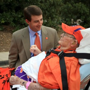 R.C. Edwards sees Clemson football coach Dabo Sweeney off before the Tigers game with South Carolina one last time.